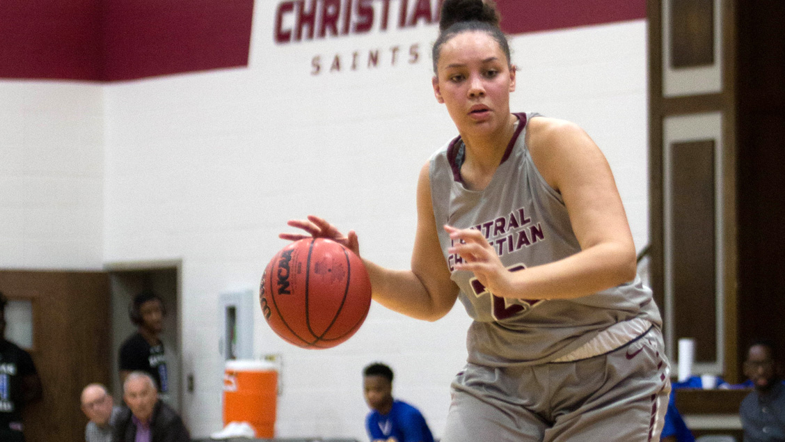 CCCB freshman Niya Golden-King scored nine points and grabbed 11 rebounds in the Saints' 74-62 loss to Faith Baptist Bible College on Monday.