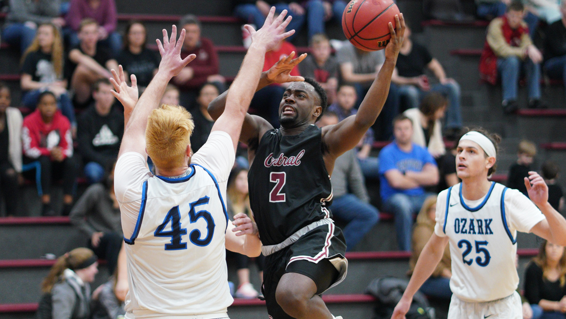 CCCB sophomore Kedron Rollings scored 11 points on Friday during the Saints' 103-95 loss to Ozark Christian College in the semifinals of the Midwest Christian College Conference Tournament at Calvary University in Kansas City.