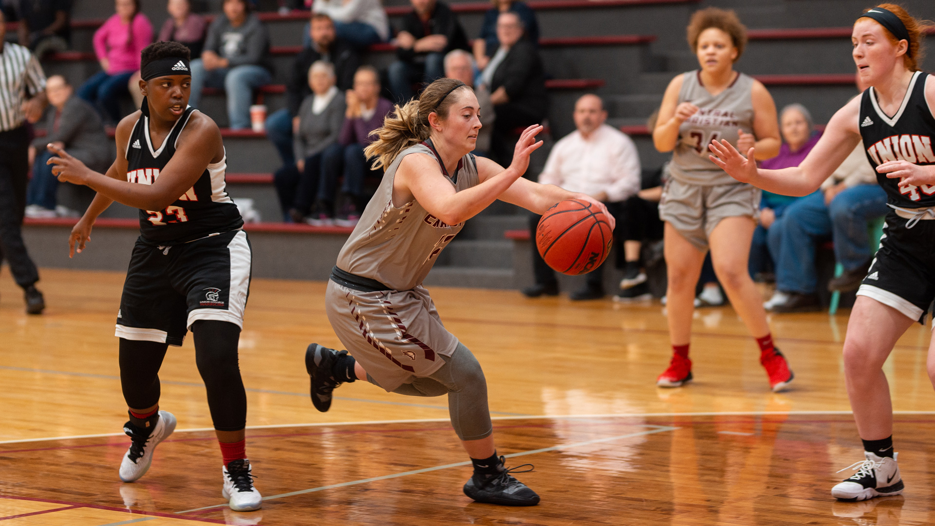 CCCB junior Autumn Gunter drives to the basket against Union College on Thursday, Nov. 7, 2019.