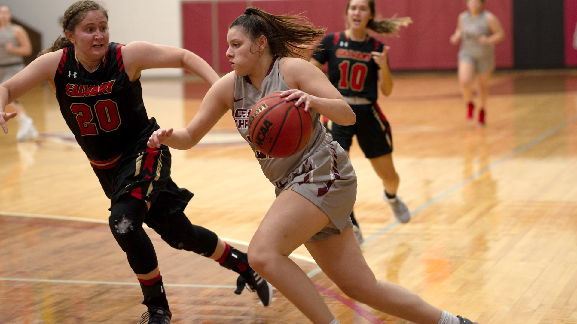 CCCB junior Vanessa Oyola scored a season-high 32 points on 7-for-16 shooting from behind the arc on Thursday during the Saints' 109-95 loss to Calvary University.